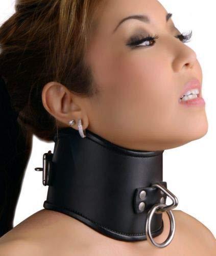 Hihappiness Strict Leather Locking Posture Collar Neck Training Stretching Brace - Locking Black Leather Collar