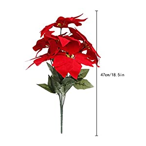 Poity Artificial Silk Poinsettias Flowers Centerpiece Bouquet Christmas Home Decor 65