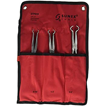 Sunex 3703 11-Inch Long Hose Gripper Pliers Set, 5/16-Inch - 3/4-Inch, 3-Piece