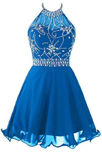 Beaded Short Dress Halter Dress (Topdress Women's Short Beaded Prom Dress Halter Homecoming Dress Backless Blue US 2)