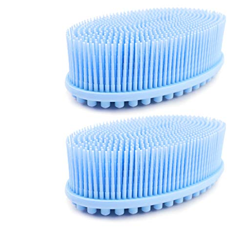 (2 pack blue) Avilana Loofah Exfoliating Body Scrubber 2 in 1 Face And Body Silicone Scrubber - Antibacterial Silicone Shower Brush Bath Sponge Loofa ()