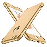 ORETECH iPhone 6 Case, iPhone 6s Case, with [2X Tempered Glass Screen Protector] 360° Full Body Heavy Duty Shockproof Anti-Scratch Rubber Silicone Case for iPhone 6/6s 4.7 inch -Gold