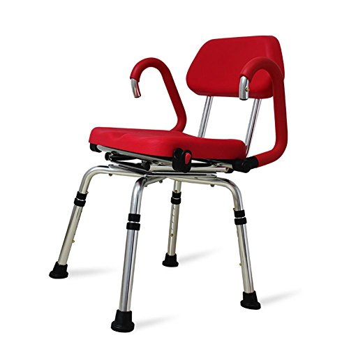 TSAR003 High-End Luxury 360 Degree Rotating Bathroom Chair With Backrest And Handrails, Comfortable Soft Seat, Adjustable Height, Waterproof Anti-Skid, 400 Pounds Load by TSAR003 (Image #3)