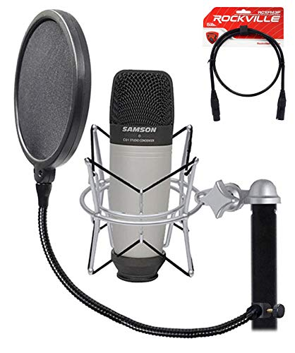 Samson C01 Studio Condenser Recording Microphone+Shock Mount+Pop Filter+Cable ()