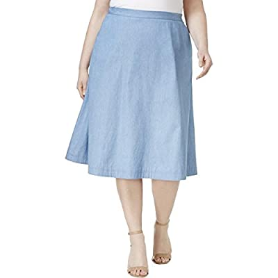 NY Collection Womens Plus Chambray Pleated A-Line Skirt