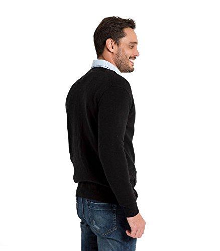 WoolOvers Strickjacke mit V-Ausschnitt aus Lammwolle für Herren Black, L