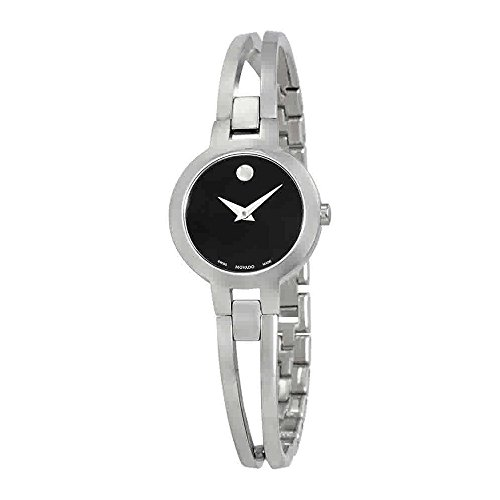 Movado Amorosa Black Dial Stainless Steel Ladies Watch 0607153