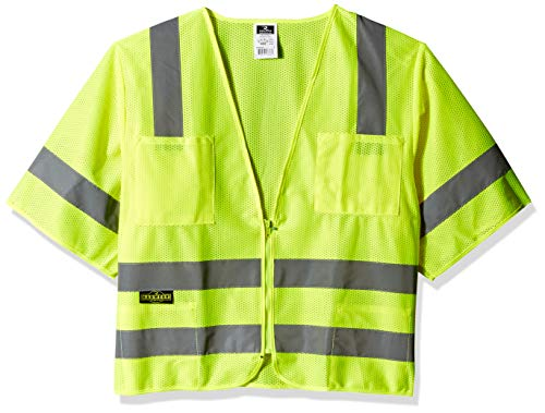 Radians SV83GML Class 3 Standard Mesh Safety Vest with Short Sleeves, Large, Green