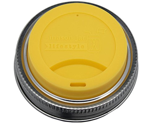 MJL Silicone Drinking Lids with Stainless Steel Bands for Mason Jars (2 Pack, Lemon Yellow, Regular Mouth)