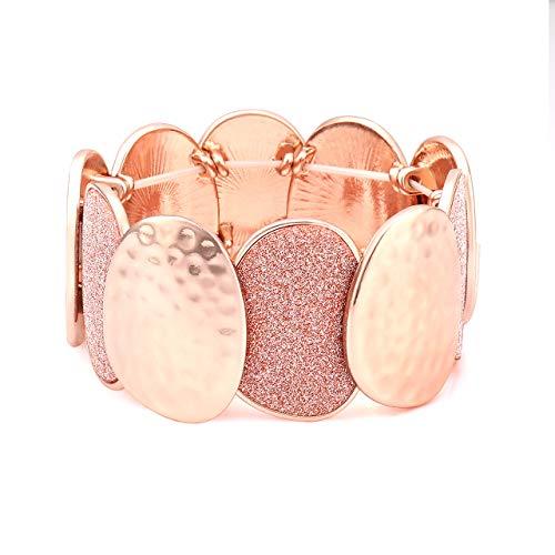 Seni Jewelry Hammered Druzy Bracelet Glitter Chunky Stretch Bracelet Statement Elastic Bracelet Bangle for Women Girls (Rose Gold)