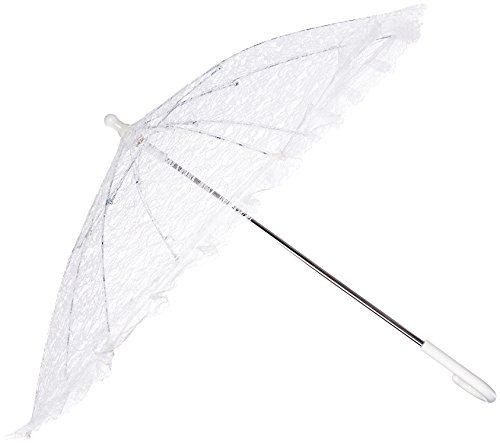 Firefly Imports PSEVELP001WH Homeford White Lace Parasol Umbrella for Bride, 26-Inch -