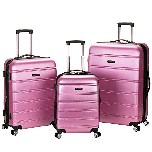 (Rockland Melbourne 3 Pc Abs Luggage Set, Pink)