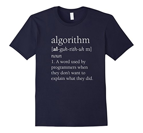 Mens Funny Computer Programmer Shirt, Algorithm Definition Gift Large Navy