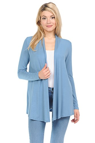 Pastel by Vivienne Women's Long Sleeve Jersey Cardigan Large Steel Blue ()