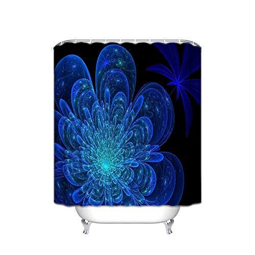 Giraffe Shower Flower Blue (Abstract Black Navy Blue X-Ray Flowers Fabric Shower Curtain, Waterproof Polyester Bathroom Curtain With 12 Hooks, Mildew Resistant, 48 X 72 Inch)