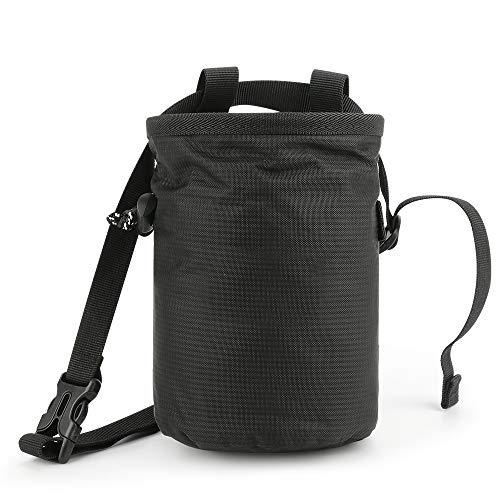 Allnice Climbing Chalk Bag, Bouldering ChalkBag Waterproof Magnesium Bag with Waist Belt for Rock Climbing, Bouldering,Weightlifting, Gymnastics (Black)
