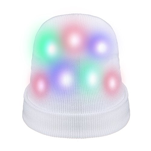 ZPTONE LED Hat Light Up Costume Colorful Flashing White Knit Hat Rave Lights Halloween Costume Party Favors Light Up Toys Novelty Christmas Gift for $<!--$7.99-->