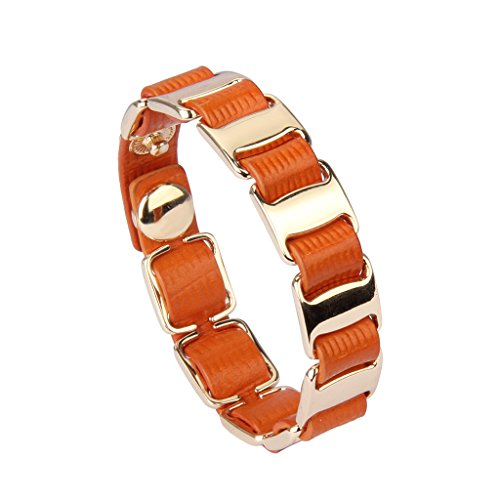 Orange Bracelets Genuine (Jenia Italian Leather Bracelet Wrap Bracelets Charm Wristband Handmade Jewelry for Women, Wife, Teen Girl Gifts with Adjustable Buttons)