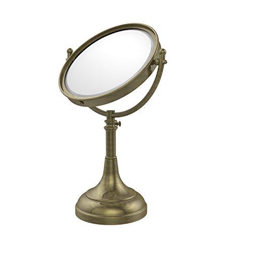 Allied Brass DM-1/4X-ABR Height Adjustable 8 Inch Vanity Top Make-Up Mirror 4X Magnification, Antique Brass ()