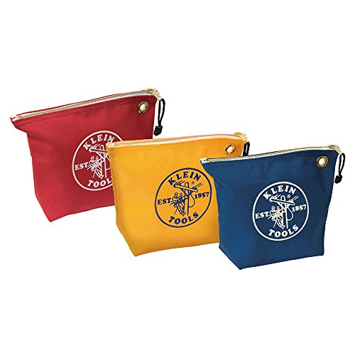 Klein Tools 5539CPAK Canvas Zipper Pouch, 10-Inch Tool Bag Storage Organizer, Assorted Colors ()
