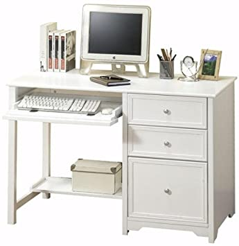 Oxford Computer Desk With Shelf, 46 W, WHITE