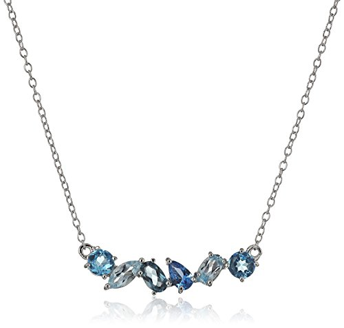 Sterling Silver Genuine Blue Topaz and Created Aquamarine Horizontal Bar Necklace, 18