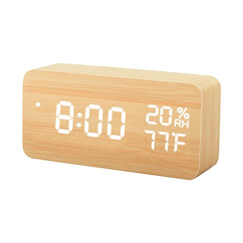 TISSA Wooden LED Alarm Clock, Wood Cube Digital Desk Alarm Clock with 3 Brightness Adjustable, 3 Set of Alarm, Dual Power, Voice Control, Time/Week/Date/Temperature/Humidity Displaying Set Wood Clock