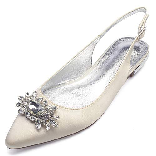 L@YC Zapatos De Boda De Las Mujeres Bombas De SatéN De La Tarde De Marfil Moda (36-43 TamañO) Ivory
