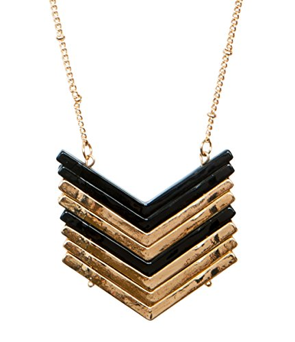 Chevron Gold and Black Necklace for Women | SPUNKYsoul Collection (Gold)