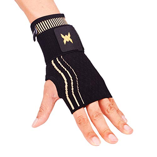 Thx4 Copper Wrist Sleeve with Adjustable Strap for Extra Support -Copper Infused Compression Wrist Brace-Relief for Carpal Tunnel, RSI, Tendonitis, Arthritis, Wrist Sprains and Fatigue-Single-S