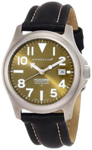 Momentum Men's 1M-SP00G2 Atlas Green Dial Black Nautica Leather Watch ()