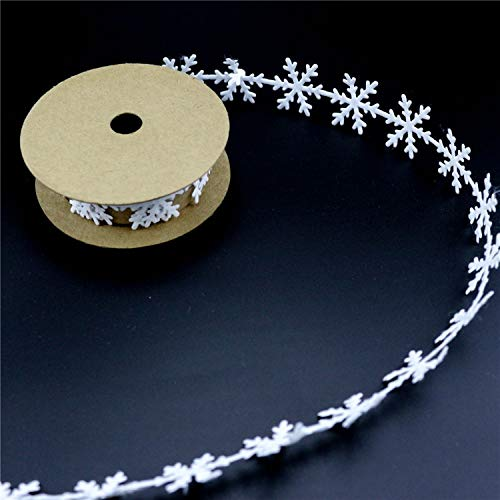 CHITOP Sewing Craft Felt Lace Trim - Embellishment White Snowflake Christmas Decorations - Green Leaves Ribbon DIY Garment Home Decoration (White) -