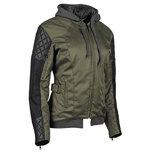 Speed & Strength Women's Double Take Textile Jacket (Medium) (Olive/Black) (Green Motorcycle Leather Jacket)