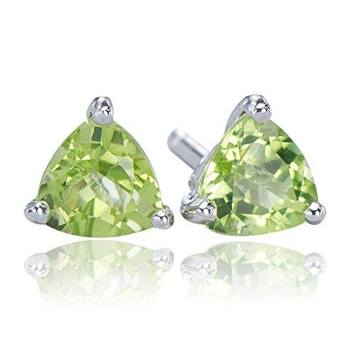 - Intricate Natural Peridot Gemstone 925 Sterling Silver 925 Trilliant Stud Earrings