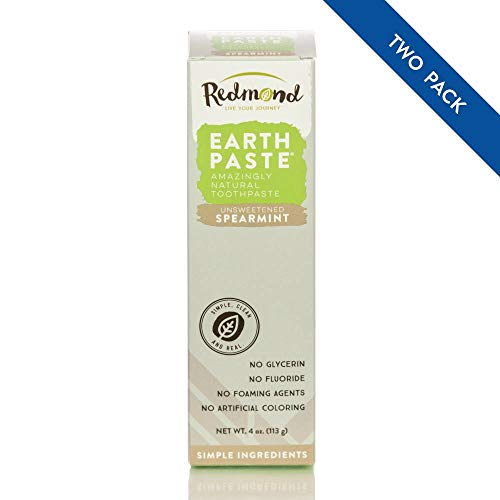 (Redmond Earthpaste - All Natural Non-Fluoride Vegan Organic Non GMO Real Ingredients Toothpaste, Spearmint 4 Ounce Tube (2 Pack))