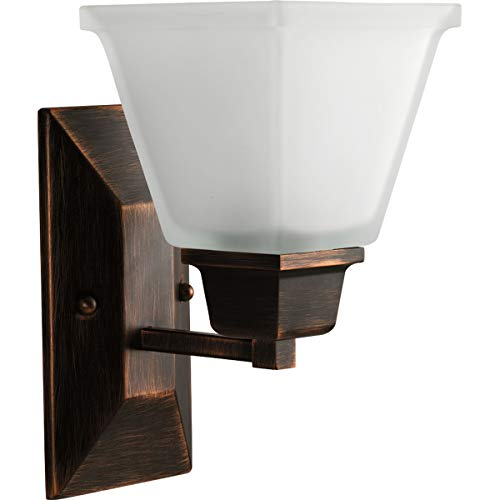 (Progress Lighting P2733-74 1-Light Bath Fixture with Square Etched Glass and Can Mount Up or Down, Venetian Bronze)