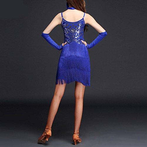 Zhuhaitf Enchanteurs Paillettes Travestissement Robe De Danse Houppe Adulte Salle De Bal Tango Fête Salsa Latin Robe Rouge