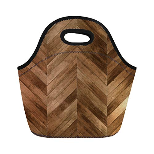 Semtomn Neoprene Lunch Tote Bag Brown Floor Wood Parquet Chevron Old Herringbone Dark Pattern Reusable Cooler Bags Insulated Thermal Picnic Handbag for Travel,School,Outdoors,Work ()