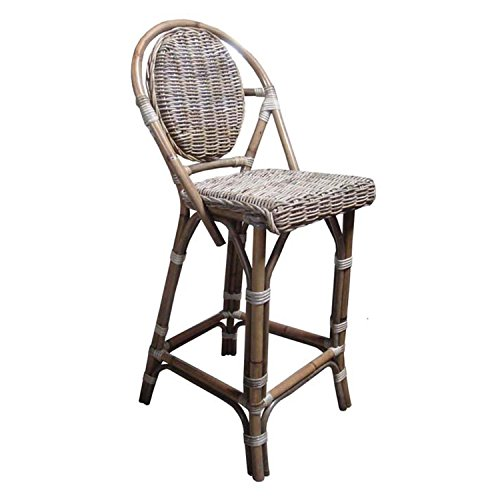 Padma's Plantation PBA14-Kubu Paris Bistro Barstool, Kubu Grey (Paris Dining Stool)