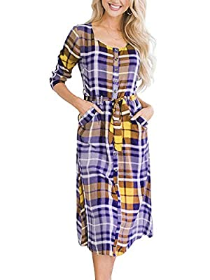 Bigyonger Womens Plaid 3/4 Sleeve Button Down Belted Tunic Shirt Dress with Pockets