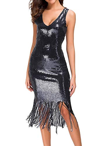 VVMCURVE Women's Sexy V Neck Sequin Glitter Bodycon Stretchy Club Flapper Dress 20s Great Gatsby Mini Party Gowns (Medium, Black) ()