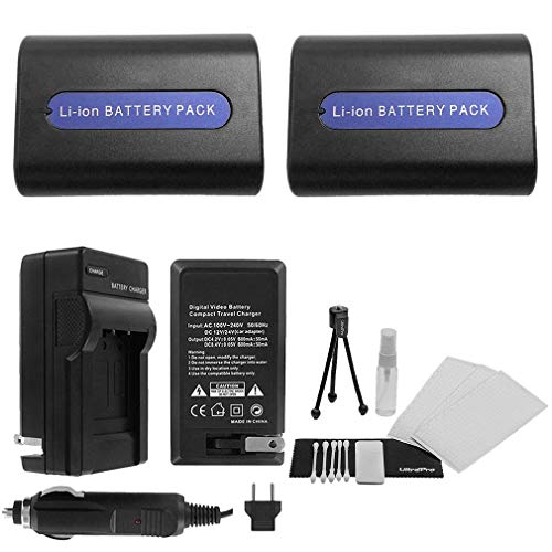 2-Pack NP-FH40 High-Capacity Replacement Batteries with Rapid Travel Charger for Select Sony Camcorders. UltraPro Bundle Includes: Camera Cleaning Kit, Camera Screen Protector, Mini Travel Tripod (Camcorder Screen Cleaning Kit)