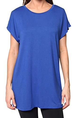 Free to Live Women's Extra Long Kimono Sleeve Loose-Fit Oversized Tunic Top USA (Small, Royal Blue)