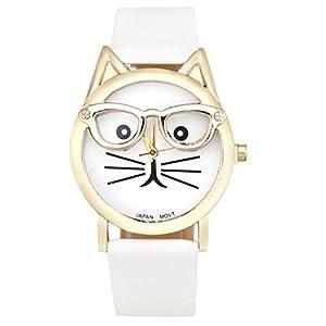 Ruhiku GW Wristwatch, Cute Glasses Cat Women Analog Quartz Dial Wrist Watch (White)