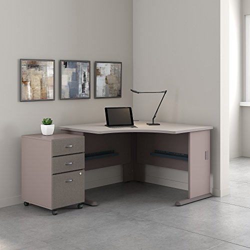 (Bush Business Furniture Series A 48W Corner Desk with Mobile File Cabinet in Pewter and White Spectrum)