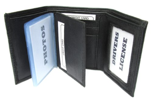 Mens Black Leather Wallet Lamb Classic Trifold ()