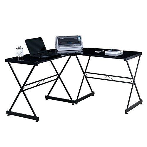 - Techni Mobili Black L-Shaped Glass Computer Desk