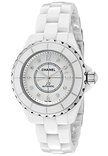 Chanel Women's J12 Automatic White Diamond White MOP Dial White High-Tech Ceramic
