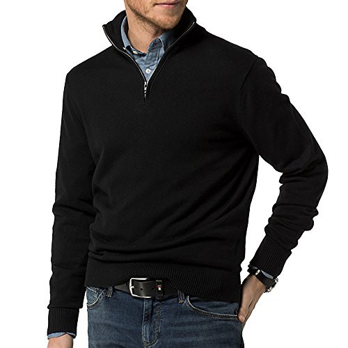 Just No Logo Men's Relaxed Fit Quarter Zip Sweater Pullover(Black New, L)