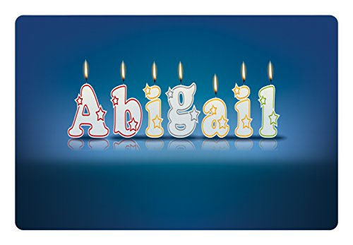 - Ambesonne Abigail Pet Mat for Food and Water, Alphabet Letters for Sweet Birthday Cake Topping on Blue Backdrop Image, Rectangle Non-Slip Rubber Mat for Dogs and Cats, Blue and Multicolor